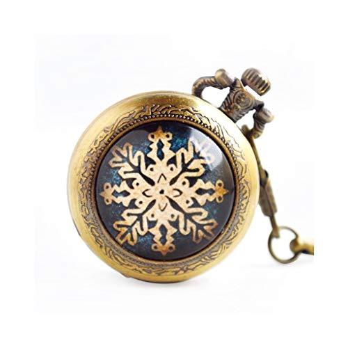 Taschenuhr, Klassische industrielle Vintage Schneeflocke Muster Quarz, geeignet für Geburtstag, Urlaub, Hochzeit Jubiläumsgeschenk (Design : A)