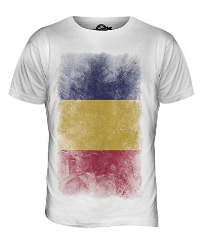 CandyMix Tchad Verblichen Flagge Herren T Shirt Weiß