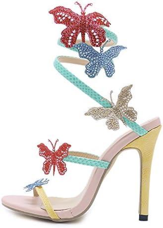 Las mujeres de la personalidad de la boda tacones altos de colores de la mariposa Sandalias de punta estrecha...