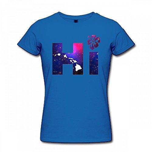 qingdaodeyangguo T Shirt for Women - Design Hi Hawaiian Islands Galaxy Shirt - Womens Hawaiian-t-shirt
