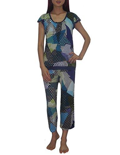 2 PCS SET Ellen Tracy Frauen Terrific Pajama Top & Crop Pants Set S Multicolor