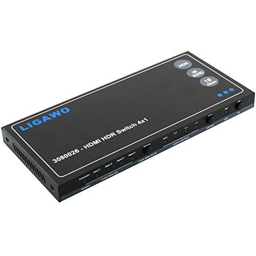 HDMI HDR Switch 4x1 - 18Gbps 4K 60Hz 4:4:4 EDID Audio + Audio Out SPDIF oder 3,5mm Klinke | RS232 Softwaresteuerung möglich + Fernbedienung (Hdmi Switch Toslink)
