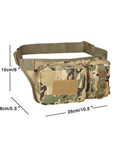 CUKKE Multipurpose Taktische Tasche Gürtel Taille Pack Tasche Military Taille Fanny Pack Telefon Tasche Gadget Geld Tasche Grün Tarnung 3