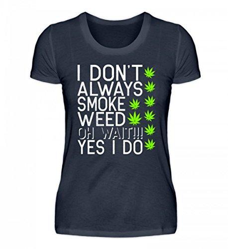 Shirtee Hochwertiges Damen Organic Cannabis Weed Meme THC CBD Marihuana Tiefblau