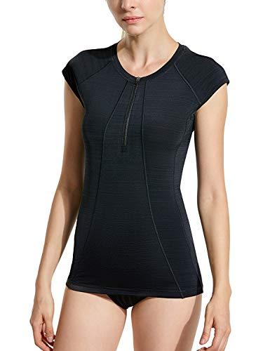 SYROKAN Damen Rash Guard Badeshirt UPF 50+ UV Shirt Schwimmshirt Schwarz XL(44)