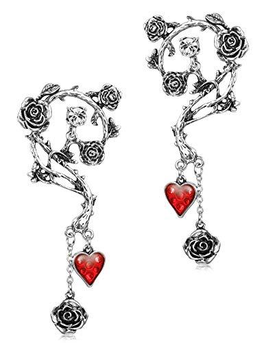 BESTEEL Pendientes de Acero inoxidable para las Mujeres Niñas Halloween Pascua Gótico Rosa Roja Pendientes de gota Joyería de moda Piercing oreja