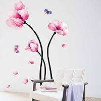 UniqueBella Pegatinas de Pared Vinilo Decorativo Adhesivo Decoración para Hogar Cocina Salón Habitación Dormitorio Camelia Rosa Mariposa