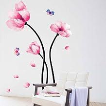 YESURPRISE Vinilo Decorativo Adhesivo Artístico Pegatina Pared Para Salón Dormitorio Loto Rosado Mariposa