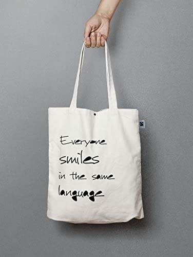 Jutebeutel mit Knopf -Everyone smiles in the same language