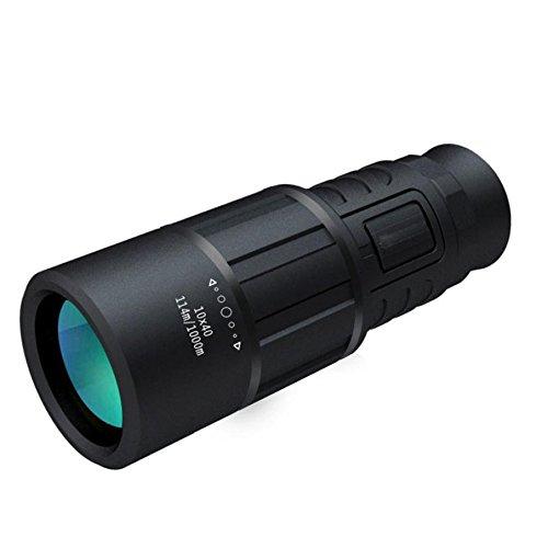 WY Telescopio Monoculare Nero Delfino 10x40 ad Alta Definizione Visione Notturna ad Alta Definizione Gioco All'aperto,Nero