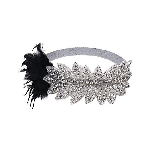 Kayamiya Damen 1920er Blatt Art Deco Flapper Stirnband Kristall Feder Gatsby Kopfschmuck (Zubehör Flapper Stirnband Kostüme)
