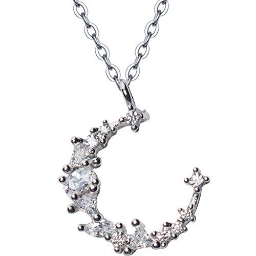 SXXDLL S925 Silber Mond Unregelmäßige Diamant Halskette Weiblichen Volldiamanten Halbmond Kurze Schlüsselbein Kette (Diamant-halbmond Halskette)