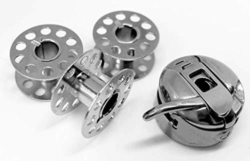 CB Spulenkapsel + 3 Metallspulen für Necchi 559 Nähmaschinen -
