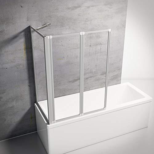 Schulte D133270 01 50 Smart Duschabtrennung für Badewanne alunatur, 2-teilig mit Seitenwand 68-71 cm