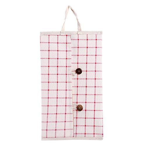 MOONQING Tissue Box Cover Plaid Muster Papier hängen Tasche niedlich Serviette Aufbewahrungsbeutel, rot Plaid -