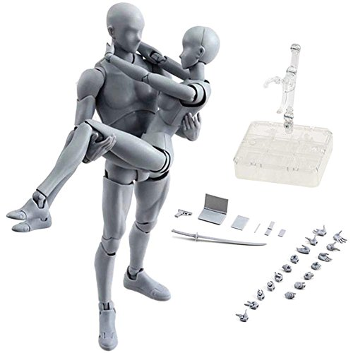 Zreal Modellfiguren Chan & Kun Puppen Mann und Frau DX Set PVC bewegliche Action-Figuren für SHF Geschenkidee Maschio + femmina grau