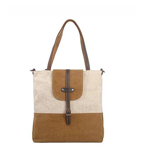 Maschio signora europeo e moda casual borsa di tela casuale retro della borsa in pelle borsa di tela americana , khaki Khaki