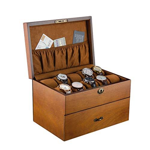 LQBH- Uhrenbox Doppelschichtuhr Aufbewahrungsbox Holz Schublade 20 Slots AbschließBar MäNnliche/Weibliche Uhr Schmuck Endverarbeitung Display Box Geschenk -31 × 21 × 19cm