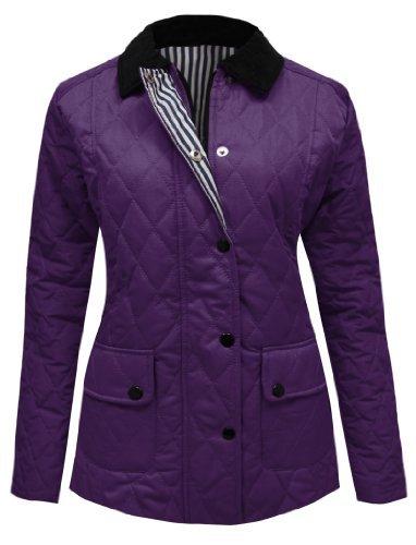 Candy floss, giaccone da donna trapuntato, imbottito, con bottoni e zip, taglie forti, dalla 36 alla 48 purple 12