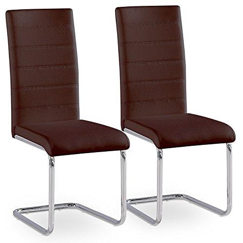 2er Set Esszimmerstuhl Küchenstühle Polsterstuhl Freischwinger Stuhlgruppe (Braun)