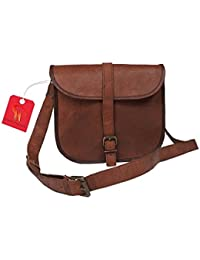 Anshika International Original Leather Cross Body Sling Bag For Women's & Girls - Brown
