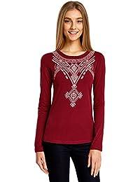 oodji Ultra Femme T-shirt avec Broderie et Manches Longues