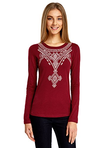 oodji Ultra Women's Embroidered Long Sleeve T-Shirt