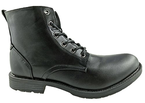 MENS LIBERTO FAUX LEATHER COMBAT 6 EYELET ANKLE BOOTS BLACK SIZE UK...