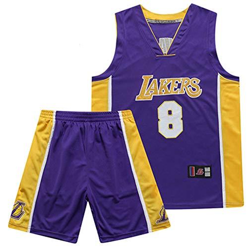 WWJIE Lakers, Basketballanzug, atmungsaktiv, schnelltrocknend, 23, 24, James, Kobe-Anzug (lila)-8-XL
