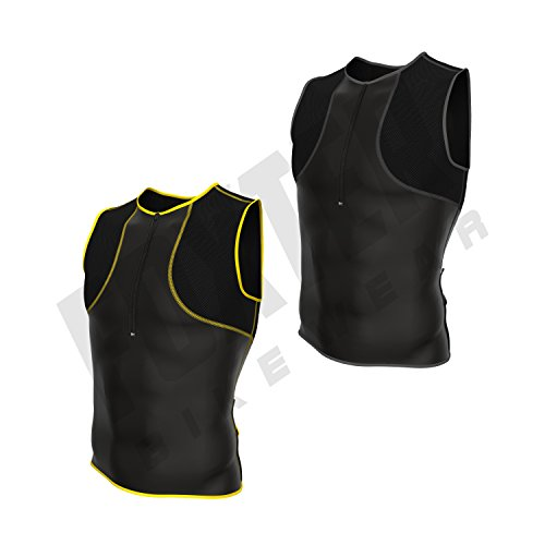 Foxter Herren Triathlon Tank Active Kompression Tri Top Racing ärmellos Shirt Running Mesh Singlet, gelb (Ärmelloses Active Top)