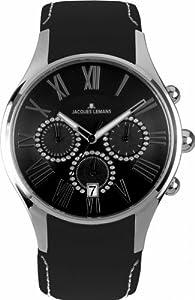 Reloj Jacques Lemans Capri de mujer de cuarzo con correa de piel negra (cronómetro) de Jacques Lemans
