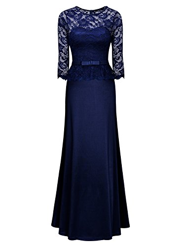 Miusol Damen Abendkleid 3/4 Arm Elegant Spitzen Kleid Brautjungfer Langes Cocktailkleid Navy Blau Gr.L -