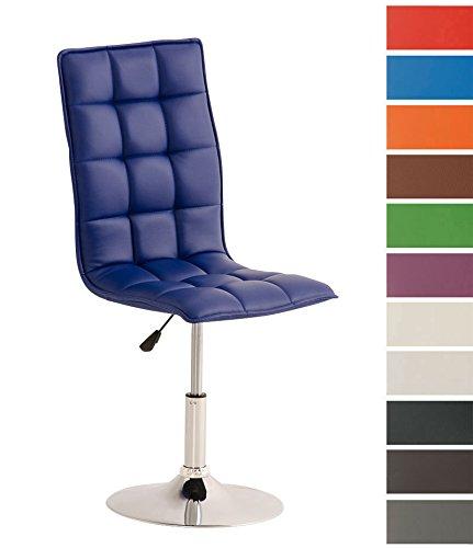 Clp sedia sala da pranzo peking, similpelle, sedie da cucina, sedie moderne, altezza regolabile 40-54 cm, sedia imbottita e girevole, con schienale alto e senza braccioli, in vari colori blu