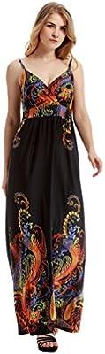 WanYang Mujer Floral Impresión Mangas Largo Fiesta Nocturna Vestir Largo Vestido De Playa Ropa Mujer Talla Grande Nuevo