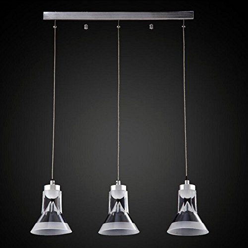 HONGOU Modern LED Pendelleuchte Restaurant 3 Lichter Kombination Höhenverstellbar Acryl aus Lampenschirm Pendellampe Für Wohnzimmer Studie Loft Treppen Edelstahl Silber 9W,Warmwhitelight (Loft 9 Licht)