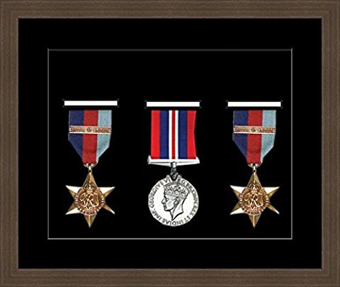 Kwik Picture Framing | Military / War / Sports Medal 3D Box Picture Frame Fits Three Medal - Mahagony Frame with Black