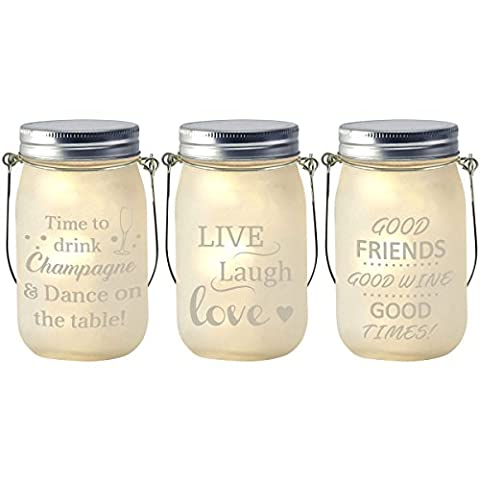 Glass Jar & Warm White LED Fairy Lights Hanging Lantern Decoration With Phrases
