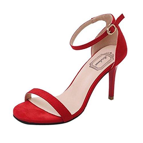 beautyjourney Scarpe Donna Tacco Eleganti Sexy Plateau Medio Alto Sandali Donna con Tacco Estivi e Plateau Medio Eleganti - Moda Donne Sandali Alti Blocco Partito Scarpe (39, Rosso)