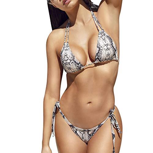 Bikini Damen Push Up Badeanzug Frauen Sexy Bikini Snake Leopard Print Bademode Push-Up Damen Hoher Taille Bikini High Waist Badeanzug mit Spaghettiträger Triangel Bikini Set Swimsuit TWBB Leopard Snake