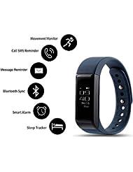 ROGUCI 0.91 pouces écran OLED Bracelet Connecté,Montre Intelligente Trackers d'activités et Podomètre Connectée et Lanalyseur de Sommeil,Compteur de Pas de Calories,Alarme, Notification d'appel et sms,Connexion de Synchronisation Smartphone en Bluetooth,Bleu