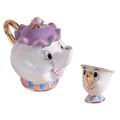 StMandy Nouveau Dessin animé Beauty and The Beast Théière Mug Mrs Potts Chip Tea Pot Cup Un Lot Joli Cadeau
