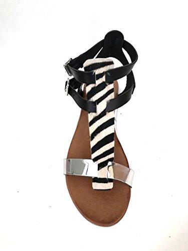 Sandali platform cavallino BT552T zebra in pelle artigianali MainApps Nero