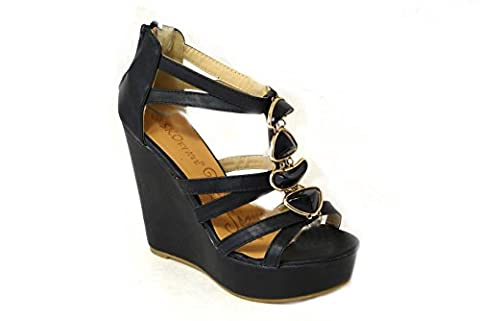 NEW WOMENS LADIES LOW MID HIGH HEEL STRAPPY WEDGES PEEP TOE SANDALS SHOES SIZE (UK6/EUR39/US8, Black