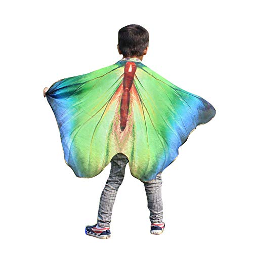 fon Jungen MäDchen Schmetterling FlüGel Drucken Umhang Klassisch Cosplay ZubehöR Kind Weihnachten Halloween Schal Pashmina KostüM ZubehöR(100 * 73CM,B Mehrfarbig) ()