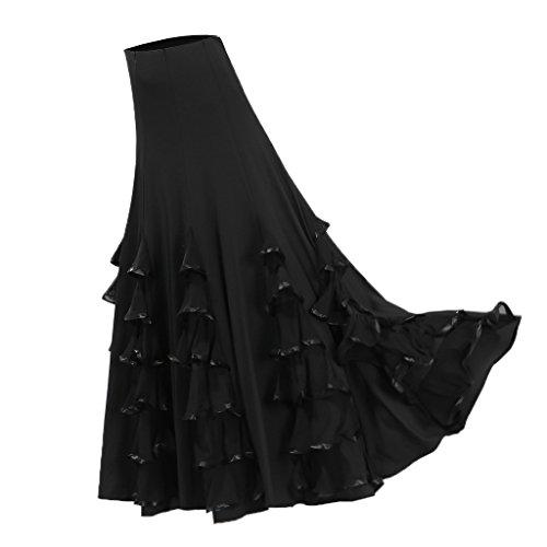 Magideal Falda Larga de CIntura Alta Vestido Volante de Baile Latino Tango Flamenco Regalo para Mujer - Negro, 85cm