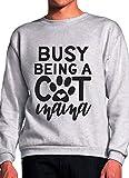 Busy Being A Cat Mama Grey Unisex Sweatshirt