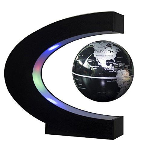Cuby Schwebender Globus mit LED-Leuchten, C-Form-Magnetische Weltkarte Levitation Schwebender Globus Rotating Magnetic Mysteriously (black F) Schwebender Globus