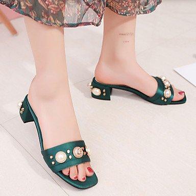 RTRY Donna Sandali Comfort Pu Primavera Estate Vestito Comfort Imitazione Perla Chunky Heel Arrossendo Rosa Army Green Nero 1A-1 3/4In US6 / EU36 / UK4 / CN36
