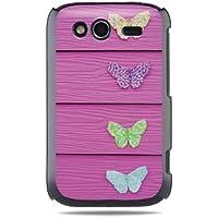 """GRÜV Premium Case - Design """"Origami-Schmetterlinge auf einem Rosa Zaun"""" - Qualitativ Hochwertiger Druck Schwarze Hülle - für HTC G13 Wildfire S"""