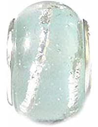 TOC BEADZ Pale Blue Glitter 8mm Glass Slide-On Bead
